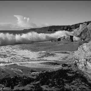 breaking wave on Mattiscombe Sands, south Devon
