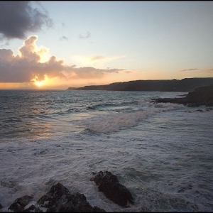 sunset over Prawle Point from Mattiscombe Sands