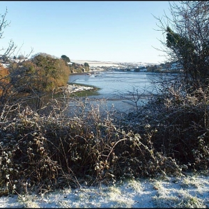 A distant view of Frogmore village at the head of Frogmore Creek (at low ti