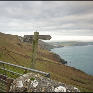 Sign on the long distance south west coast foot path at Start Point