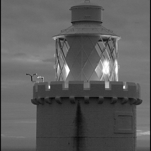 Detail of the top of Start Point Lighthouse