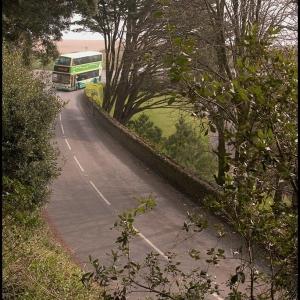 The Kingsbridge to Dartmouth bus rounding Strete Gate