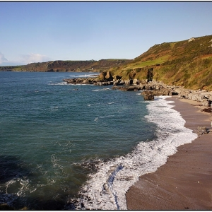 Mattiscombe Sands looking west towards Prawle Point