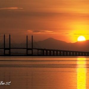 Sunrise over Penang Bridge