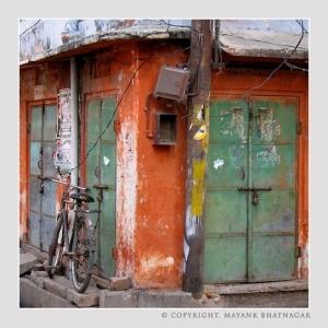 Locked Bicycle and Locked Doors
