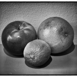 An apple, an orange and a lime