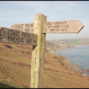 Signpost on Southwest long distance coastal path
