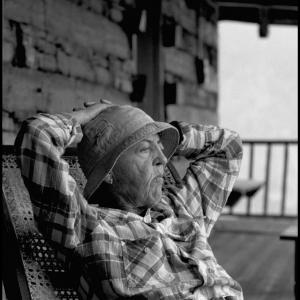 """Rosie on verandah of """"Urusvati"""" in Kulu Valley"""
