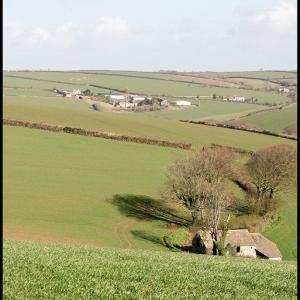 Distant view of Malston Barton Farm