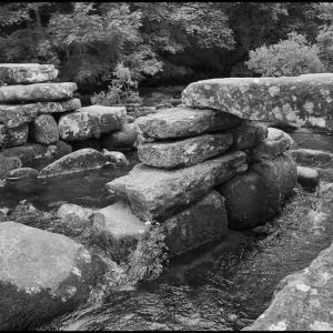 The remains of the prehistoric clapper bridge at Dartmeet