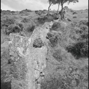 Stone pillar, wall and rowan trees