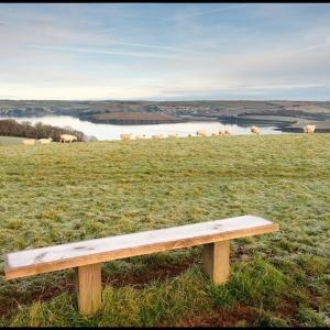 Frosty bench, far reaching outlook