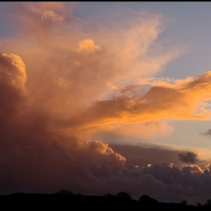 Clearing shower at sunset