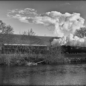 The auto train alongside the River Dart near Totnes