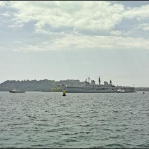 HMS Illustrious passes Drake's Island