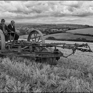 A cultivator glides by