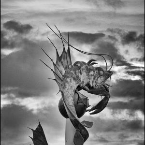 Modern sculpture, breathing fire